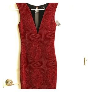 Cute red shimmery mini cocktail dress